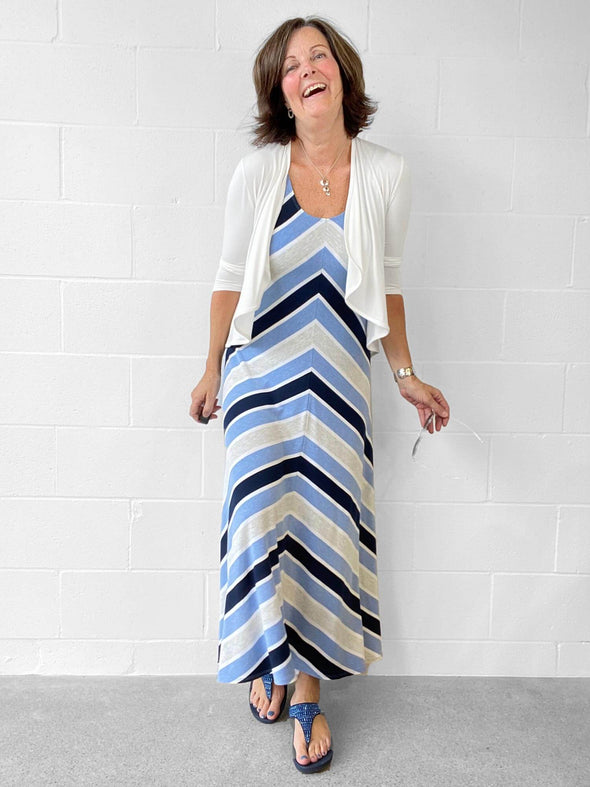 Gina chevron reversible midi dress