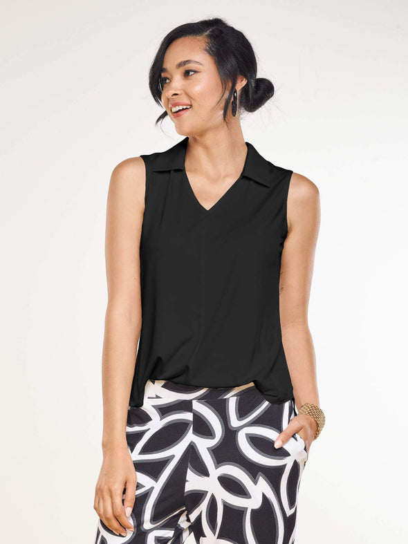 Esther sleeveless collared top