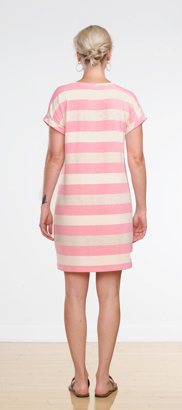 Liz rolled sleeve striped dress