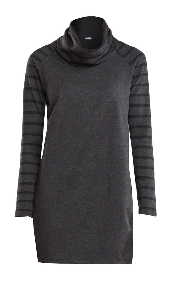 Reagan stripe sleeve cowl tunic - FINAL SALE