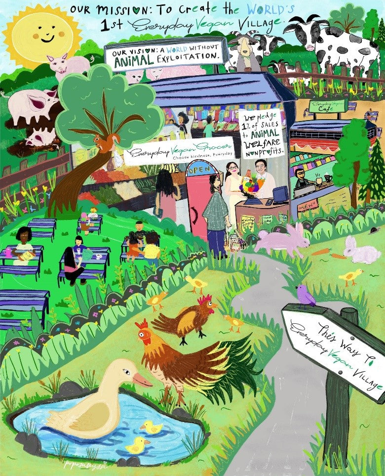 Envisioning the Everyday Vegan Village with Local Artist, Poposuseyssi