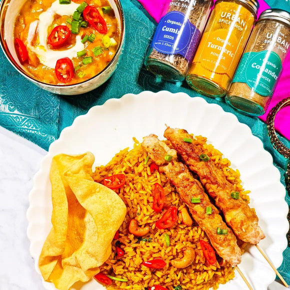 Golden Vegan Biryani with a Tofu-Meaty Kebab and Spiced Tomato Chutney