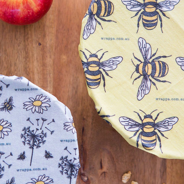 Wrappa Vegan Reusable Food Wraps - Busy Bees 3 Pack