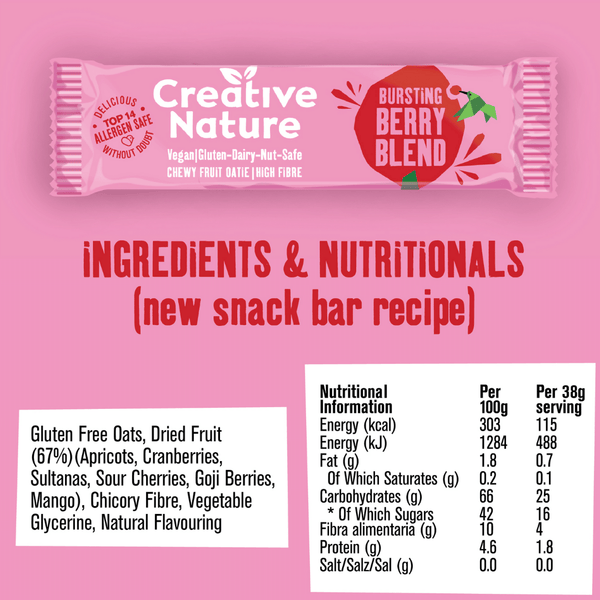 Creative Nature - Bursting Berry Blend Oatie Bar 38g - Everyday Vegan Grocer