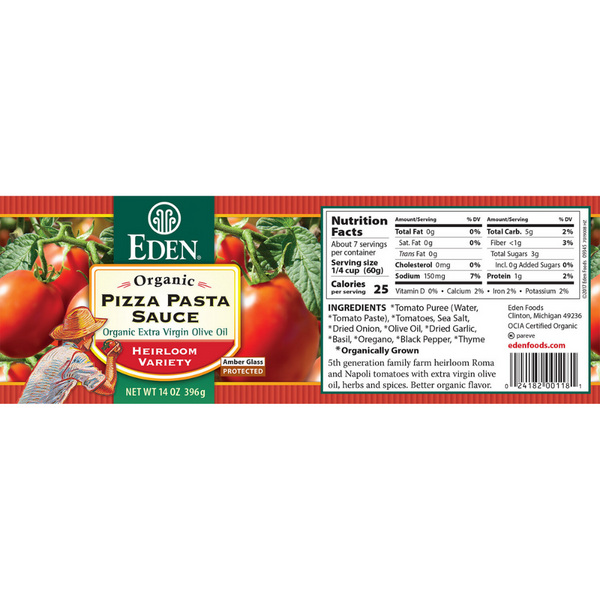Eden Organic - Pizza Pasta Sauce 396g - Everyday Vegan Grocer