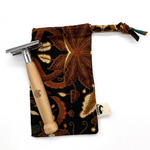 Bamboo Straw Girl - Beechwood Safety Razor (Double Edge) in POUCH with 3 Replacement Blades - Everyday Vegan Grocer