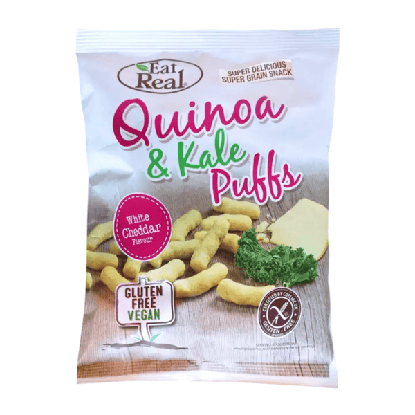 Eat Real - Quinoa & Kale White Cheddar Puffs (Small), 30g - Everyday Vegan Grocer