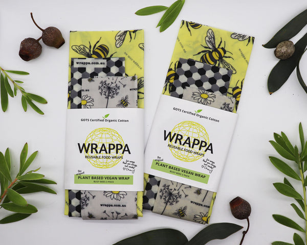 Wrappa Vegan Reusable Food Wraps - Busy Bees 3 Pack - Everyday Vegan Grocer