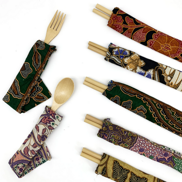 Bamboo Straw Girl - Batik Pouch from Scrap Fabric (Fork straws or Sporks) - Everyday Vegan Grocer