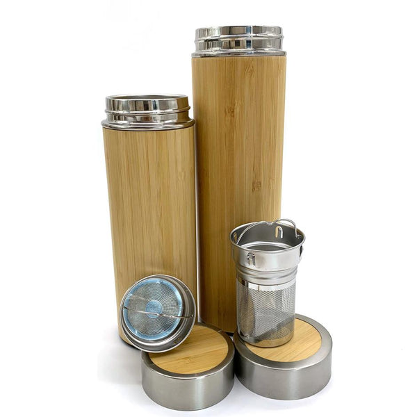 Bamboo Straw Girl - Bamboo Shell Thermal Flask 500ml - Everyday Vegan Grocer