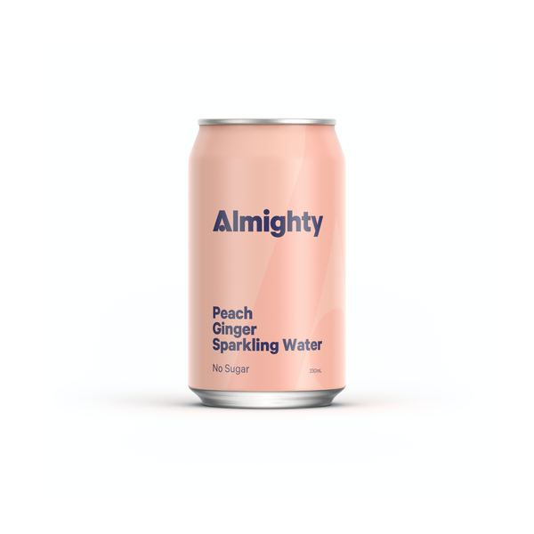 ALMIGHTY - Peach & Ginger Sparkling Water 330ml - Everyday Vegan Grocer