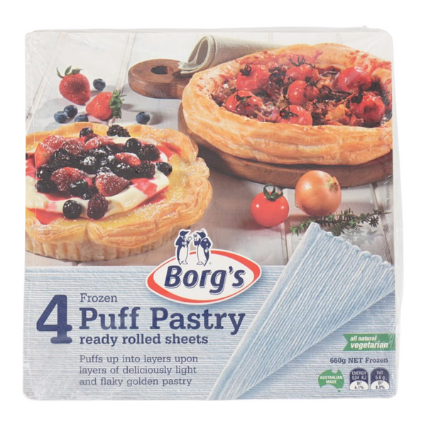 Borg - Puff Pastry Sheets 4s (Frozen), 660g - Everyday Vegan Grocer