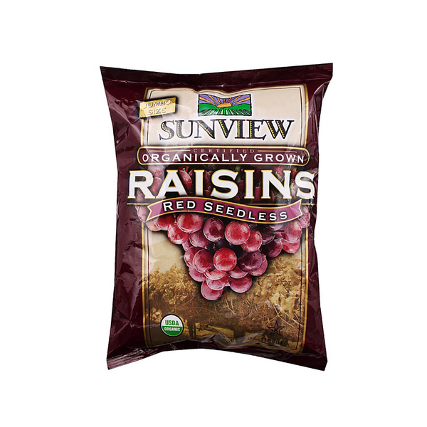 Sunview - Organic Raisins Red S/Pack 14x0.5Oz - Everyday Vegan Grocer