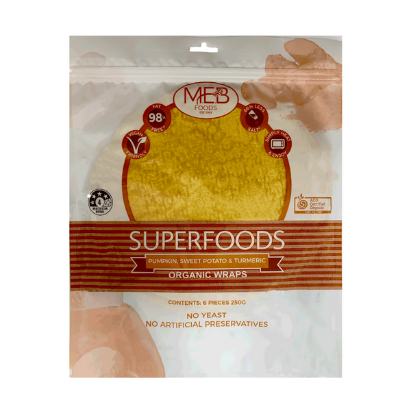 MEB Pumpkin, Sweet Potato & Turmeric Organic Wrap 6s, 250g - Everyday Vegan Grocer