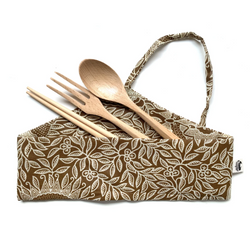 Bamboo Straw Girl - Wooden Cutlery Set (Beechwood Fork, Spoon, Birchwood Chopsticks)
