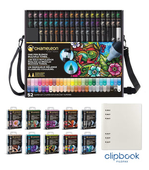 Chameleon Bundle - All 52 Chameleon Pens, 50 Color Tops, with bonus A5 Clipbook by Filofax