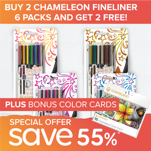 Special Offer Bundle - Chameleon Fineliner 6 Packs & Color Cards