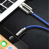 Cable Chargeur USB TOTU En Zinc Et Alloy | iPhone 5 / 5S / 5+ / 6 / 6S / 6+ / 7 / 7S / 7+ / 8 / 8S / 8+ / X-lookteck-Bleu-30CM-lookteck