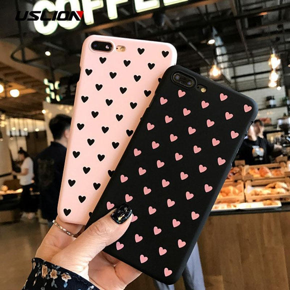 USLION Cute Couple Love Heart Case For iPhone 6 6s Plus Phone Case For iPhone X 8 7 6 Plus 5 5s SE Matte Hard PC Back Cover Case-lookteck-Black-For iPhone X-lookteck