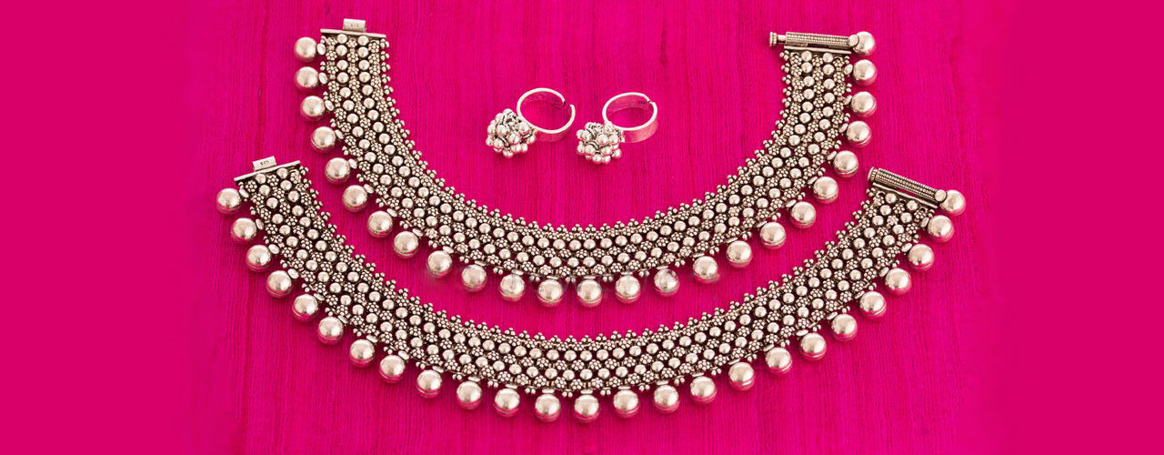 e75bbd038 Buy women s silver anklets payal toe rings online