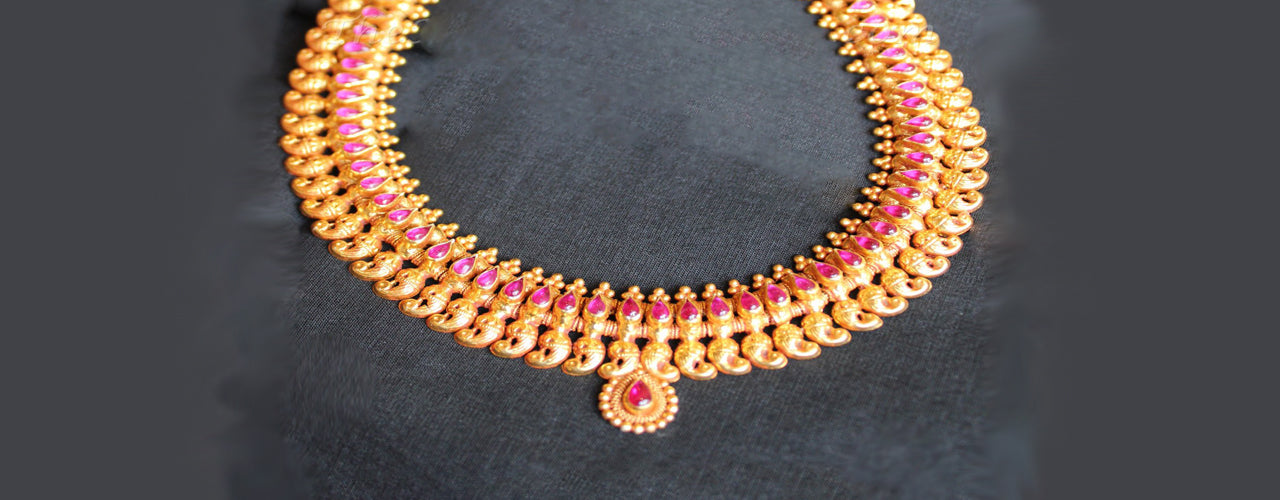 07931ebc5c782 South Indian temple jewellery gold plated, handmade in silver. - KO ...
