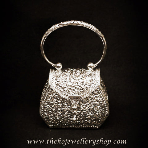 India online shopping silver clutch for women