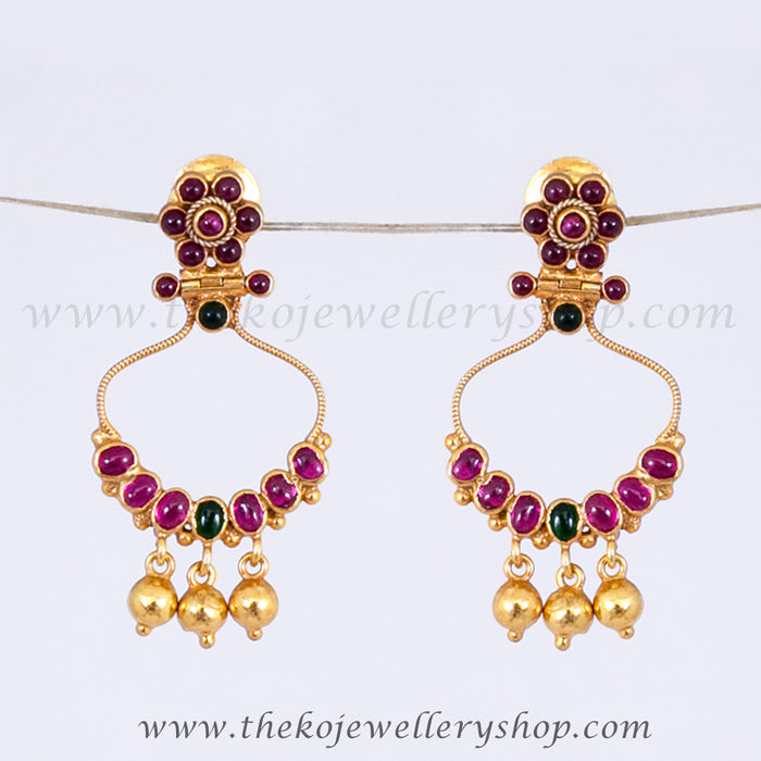 Red stone gold plated ear drops