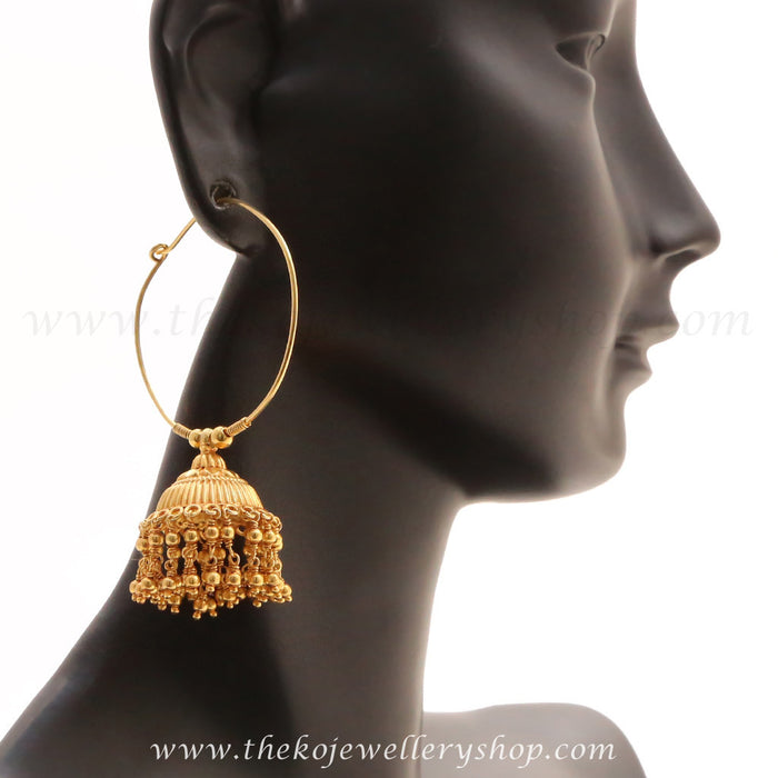 Gold plated bali jhumka for women