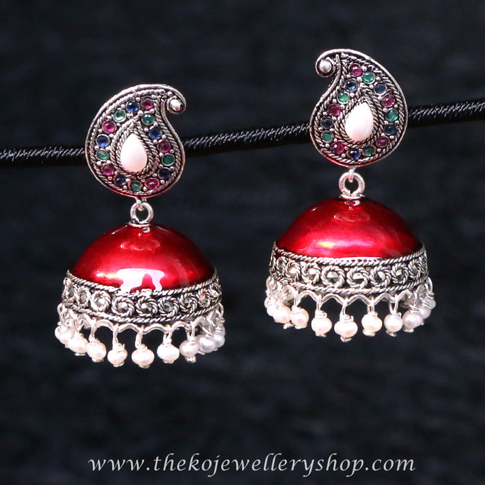 Hand crafted silver jhumkas mango shaped studs buy online