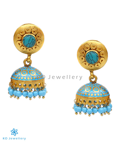 Gold-dipped, sterling silver jhumka with exquisite meenakari work