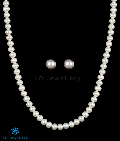 The Damini Silver Pearl Necklace