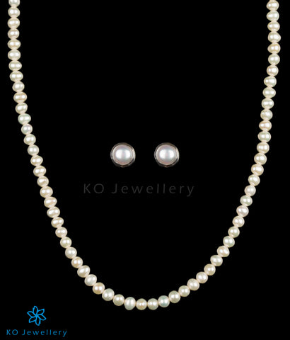 Buy pearl string necklace with earrings India