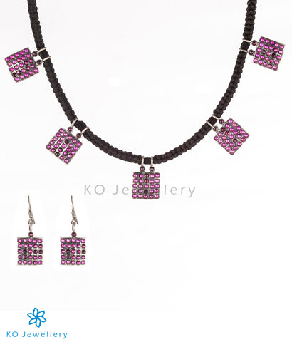 The Sutra Silver Antique Necklace Set