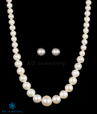 Pearl silver long necklace designs India