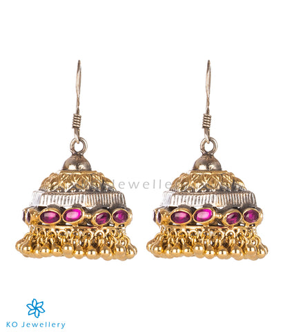The Stambha Silver Antique Jhumka (Two-tone)