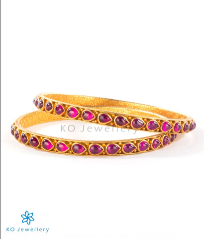 Gorgeous red and golden temple jewellery bangles online