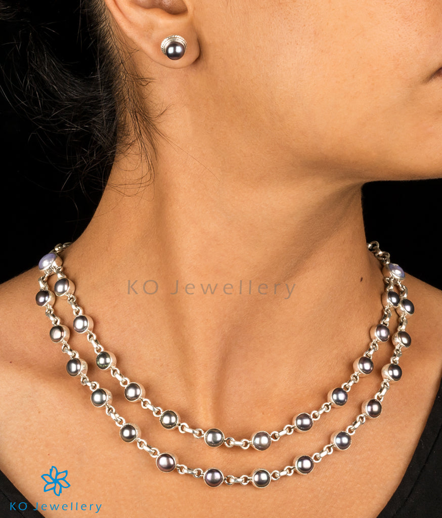 e6d0535d6dc The Zukti Silver Black Pearl Necklace Set-Buy Pearl Necklace Online ...