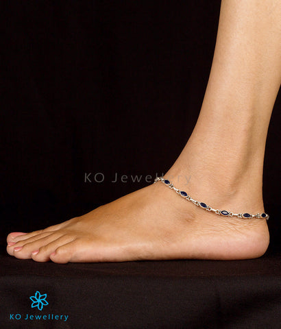 Blue stone anklets in pure silver