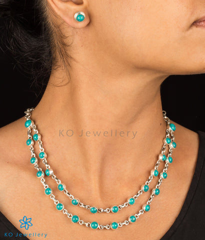 office wear double string turquoise necklace set online