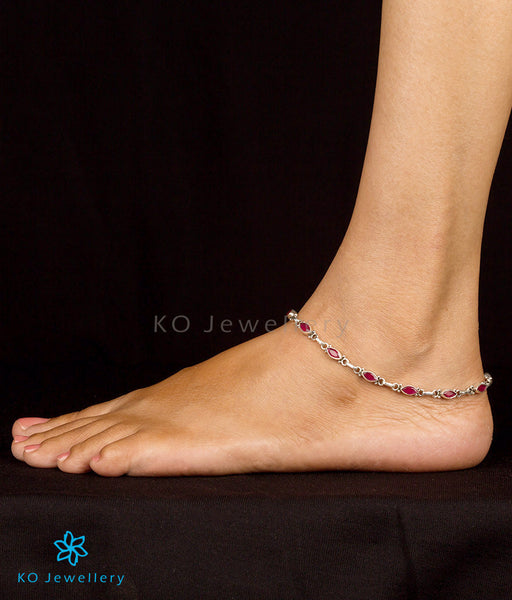 The Varna Silver Gemstone Anklets (red)  Stunning Indian. Angel Wing Necklace. Rosefield Watches. Lotus Wedding Rings. Locking Anklet. Bridal Bands. Ankle Bracelets Silver Chain. Anticlastic Bracelet. 11 Inch Anklet