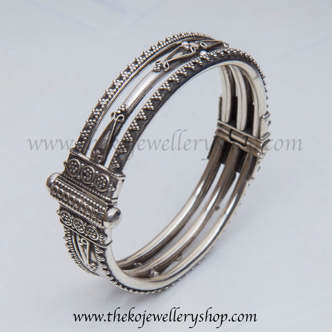 Three layered intricate handcrafted pure silver bangle