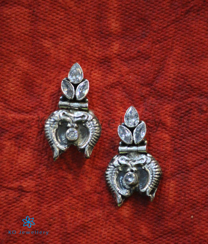 The Dhivara Silver Gemstone Fish Earrings (White)
