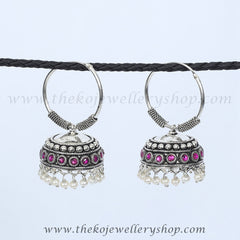 Pure silver jhumka pink stones buy online