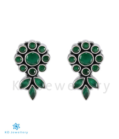 The Pritha Silver Gemstone Earrings (Green)