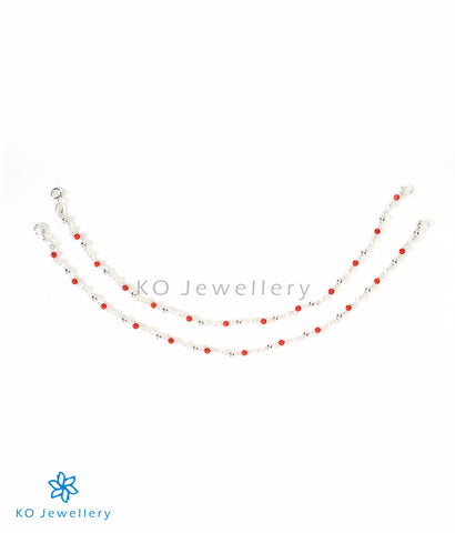Red anklets with coral beads