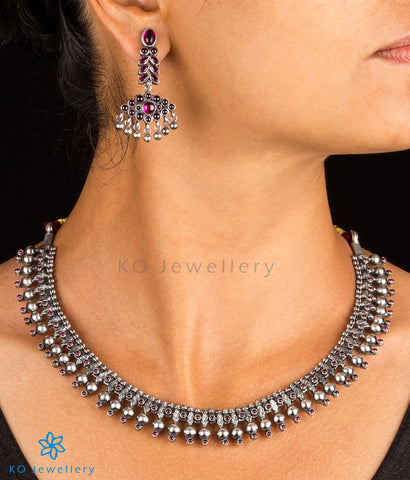 The Kanishtha Silver Gejje Addige Necklace (Oxidised)
