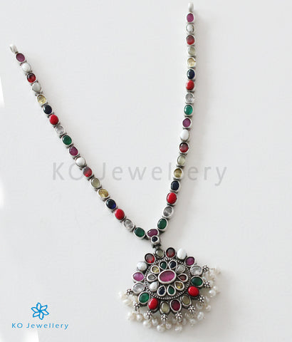 The Ekathva Silver Navarathna Necklace (Oxidised)