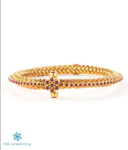 Tastefully designed gold-plated silver temple jewellery bracelet