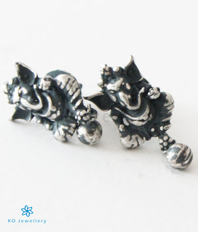 The Mandaka Silver Ganesha Ear-studs (Oxidised)