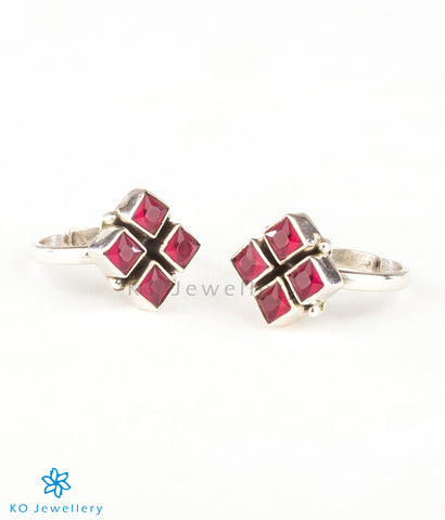 The Anaita Silver Toe-Rings (Red)